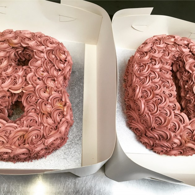 80 cake - dusky pink and gold
